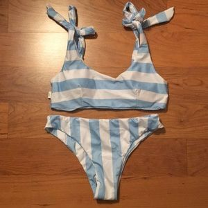 blue and white stripped swimsuit